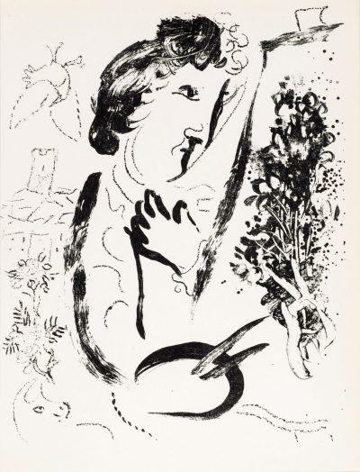 Marc Chagall lithograph DEVANT LE TABLEAU