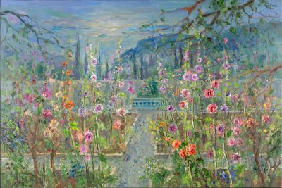 Hollyhocks in Chopin's Garden, Valldemossa
