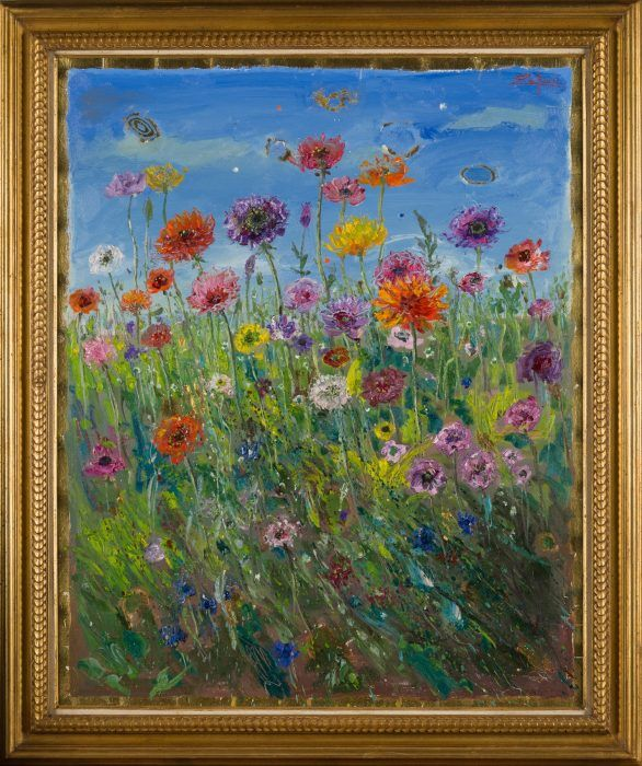 Bruno Zupan Poppies on a Windy Day (Framed)