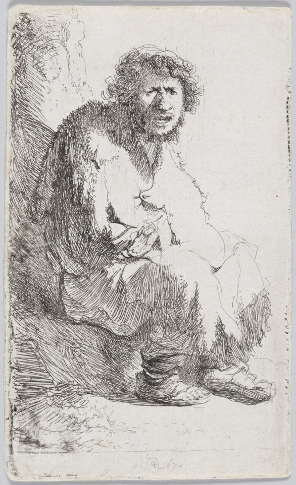 Rembrandt etching, BEGGAR SEATED ON A BANK