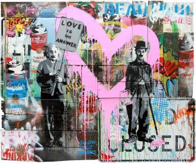 Mr. Brainwash Mixed Media Painting: Juxtapose, Stencil and Mixed Media on Street Signs and Wood Panels 60 x 72 inches