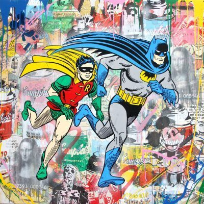 Mr. Brainwash Mixed Media on Canvas Batman & Robin 42 x 42 inches