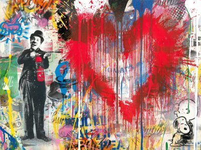 Mr. Brainwash mixed media painting Spray Love Silkscreen and Mixed Media on Paper 22.5 x 30 inches