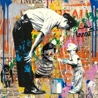 Mr. Brainwash mixed media painting Not Guilty Silkscreen and Mixed Media on Paper 22.5 x 22.5 inches
