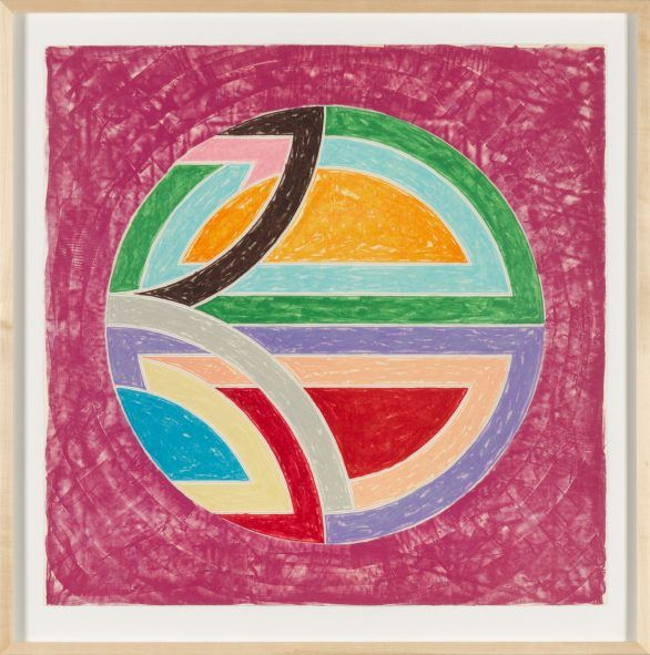 Frank Stella lithograph: Sinjerli Variation Squared with Colored Ground I Framed