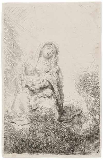 Rembrandt etching & drypoint VIRGIN AND CHILD IN THE CLOUDS