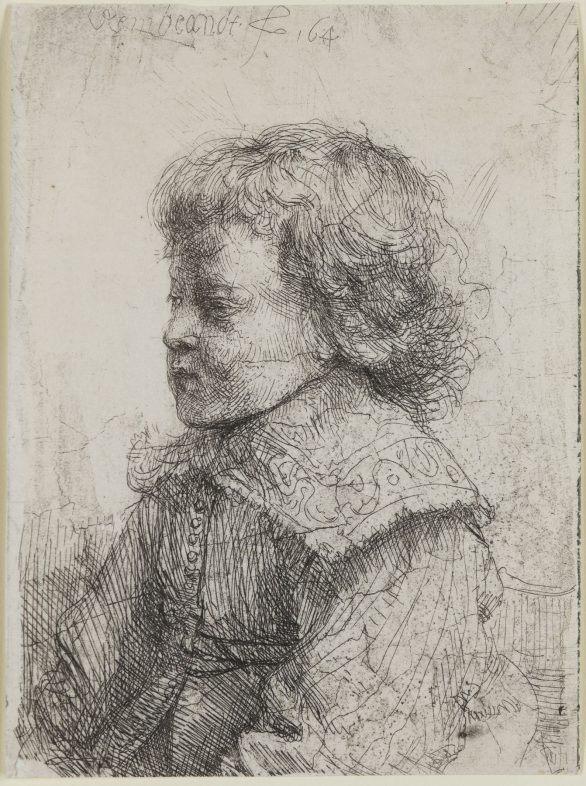 Rembrandt Van Rijn etching Portrait of a Boy in Profile