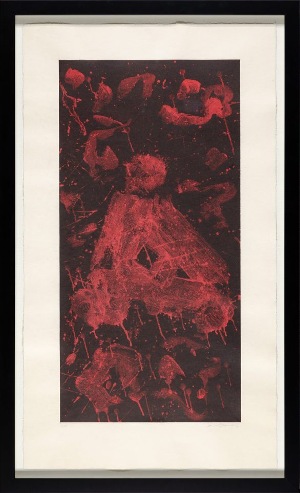 Sam Francis aquatint with chine colle Untitled (L. I.54) Framed
