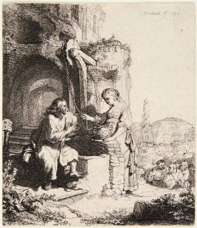 Rembrandt etching Christ and the Woman of Samaria, among Ruins