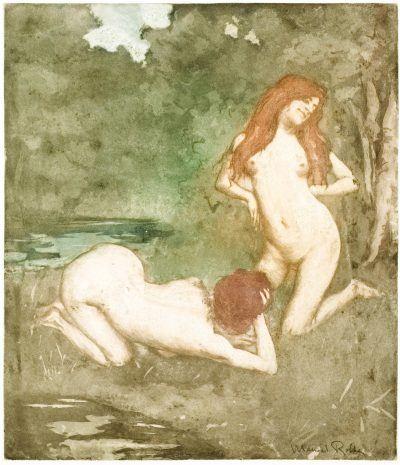 Robbe Aquatint: Les Deux Nymphes