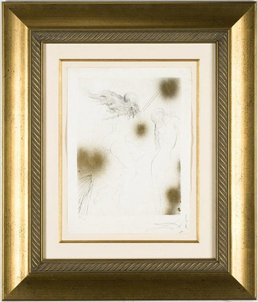 Dalí Drypoint: Witches with Broom (Sorcieres au Balai) framed