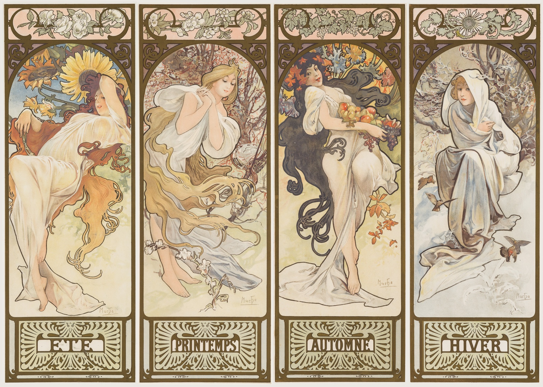 mucha lithograph les saisons christopher clark fine art. Black Bedroom Furniture Sets. Home Design Ideas