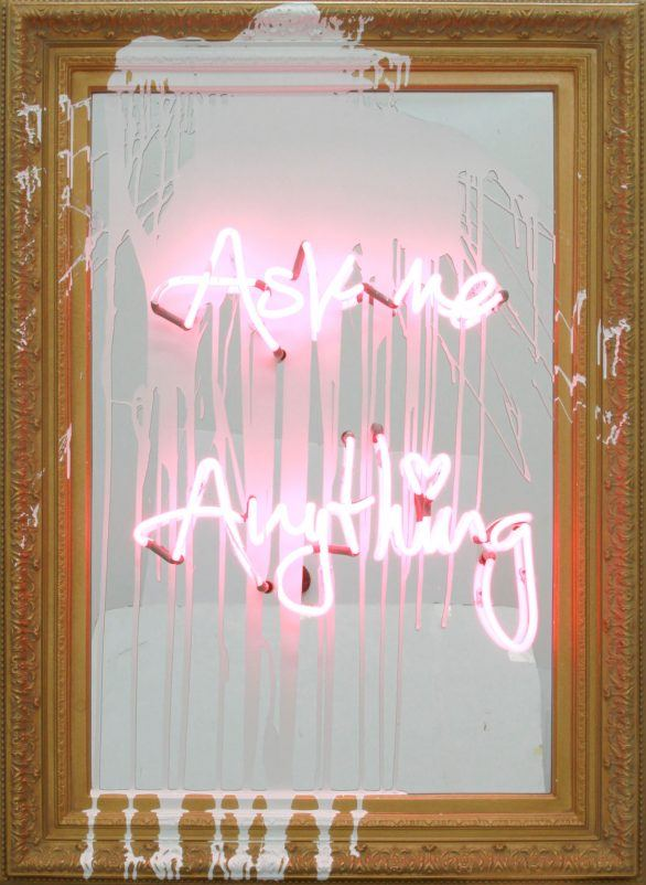 Mr. Brainwash Neon on Painted Mirror Ask Me Anything